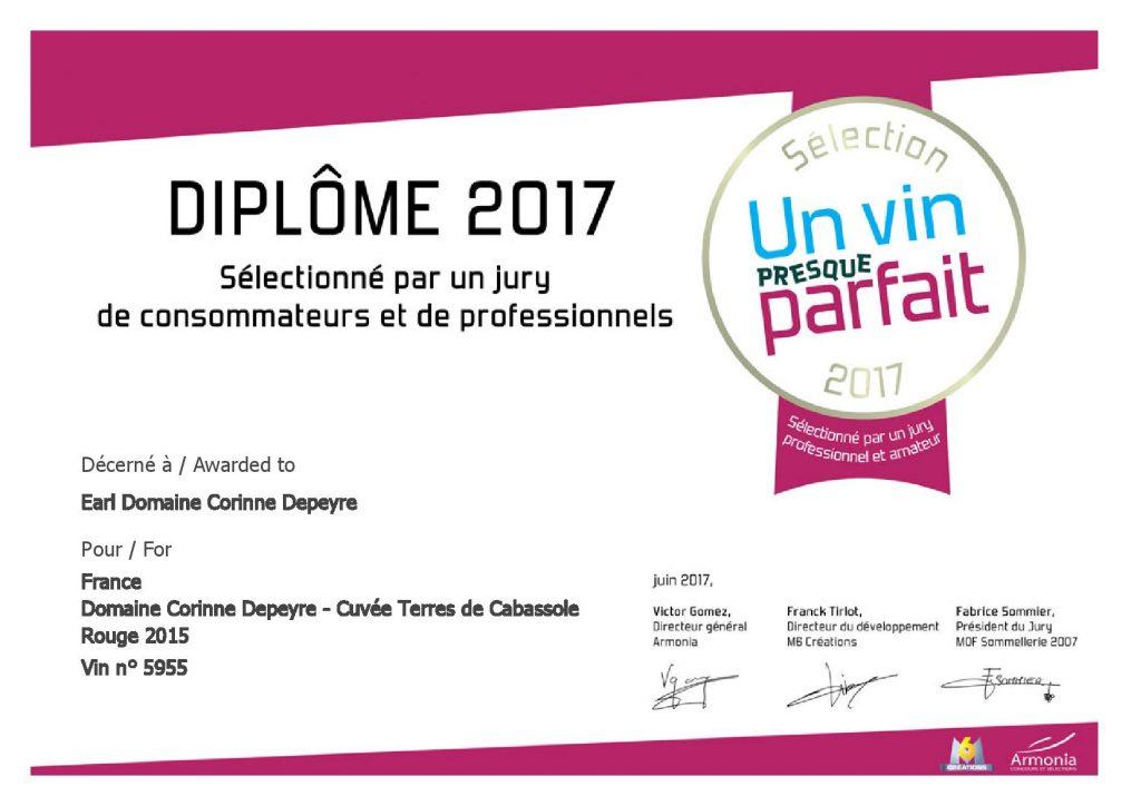 """Sélection 2017 concours """"Un vin presque parfait"""""""