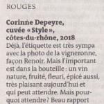 """Sélection 2020 par le journal """"Le Monde"""" du Cuvée Style Rouge !"""