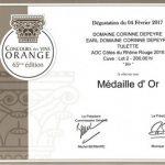 "Médaille d'or Orange 2017 ""Style rouge"""